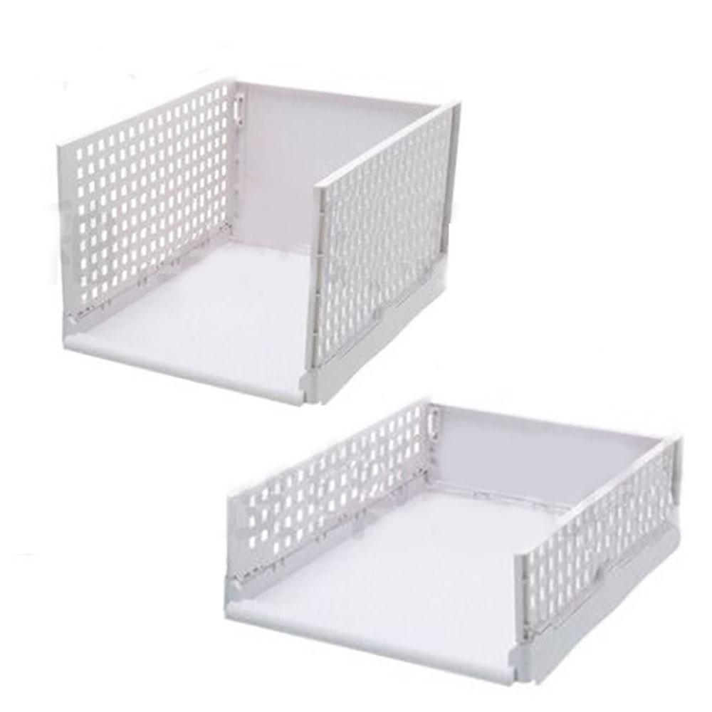 【挪威森林】可折疊多層置物架/折疊抽取式衣櫃/ 高款2入
