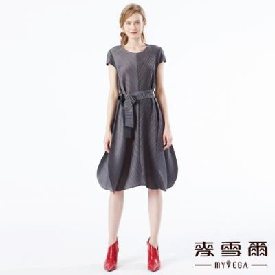 【麥雪爾】奢華質感百摺造型短洋裝