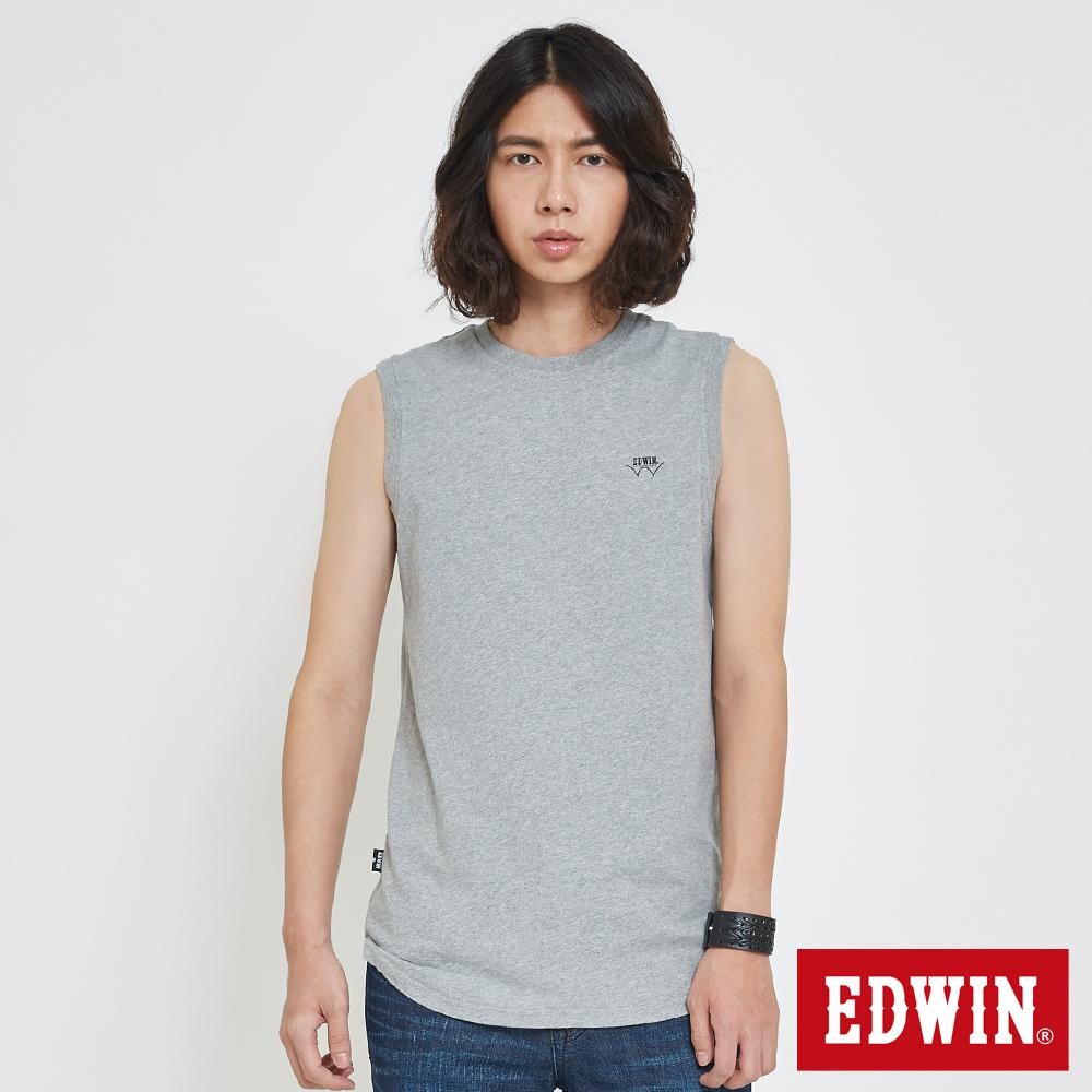 EDWIN 長版LOGO簡約背心-男-灰色