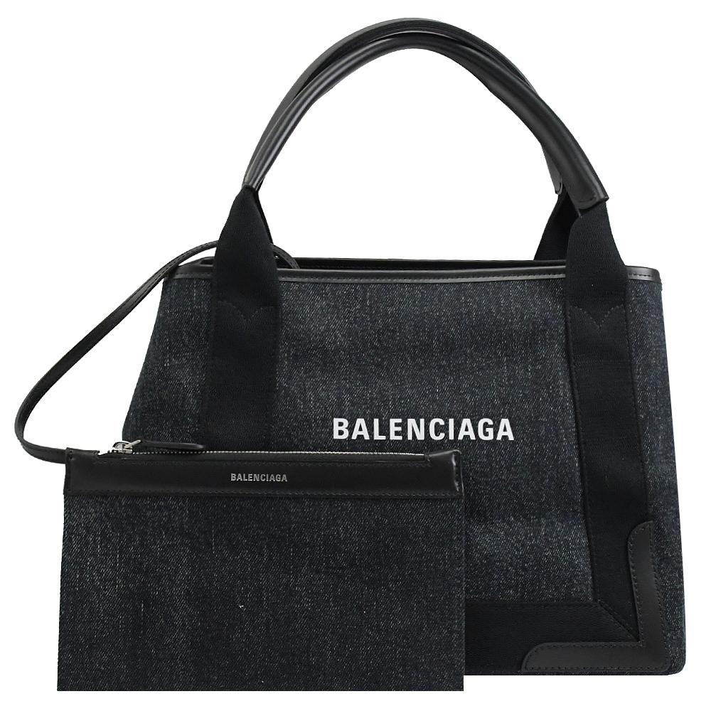 BALENCIAGA NAVY 燙印LOGO丹寧手提帆布包(深藍/黑)