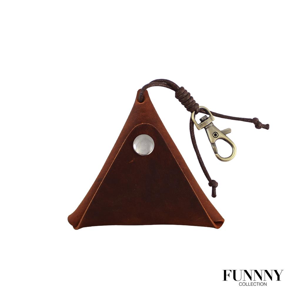 FUNNNY 真皮實用三角型 零錢/鑰匙 收納包 中居 瑛 紅棕