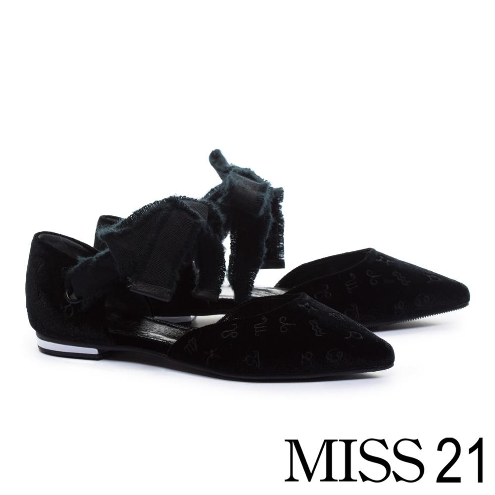 低跟鞋 MISS 21 小優雅星象電繡設計綁帶尖頭低跟鞋-黑