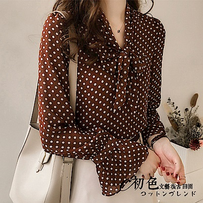 波點喇叭袖雪紡襯衫-共2色(M-2XL可選)   初色