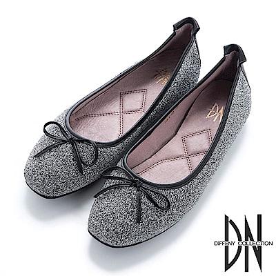 DN 法式優雅 金蔥芭蕾蝴蝶結娃娃鞋-銀