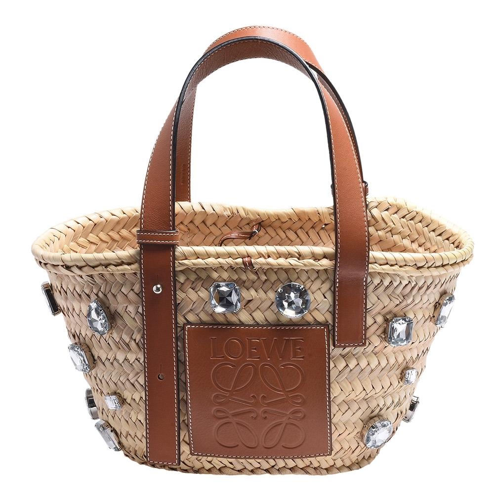 LOEWE Basket品牌LOGO烙印小牛皮寶石裝飾提把竹編提籃手提包(小-焦糖棕)
