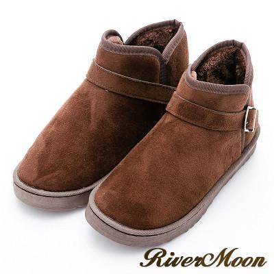 River&Moon大尺碼情侶款-百搭扣環雪靴-咖啡