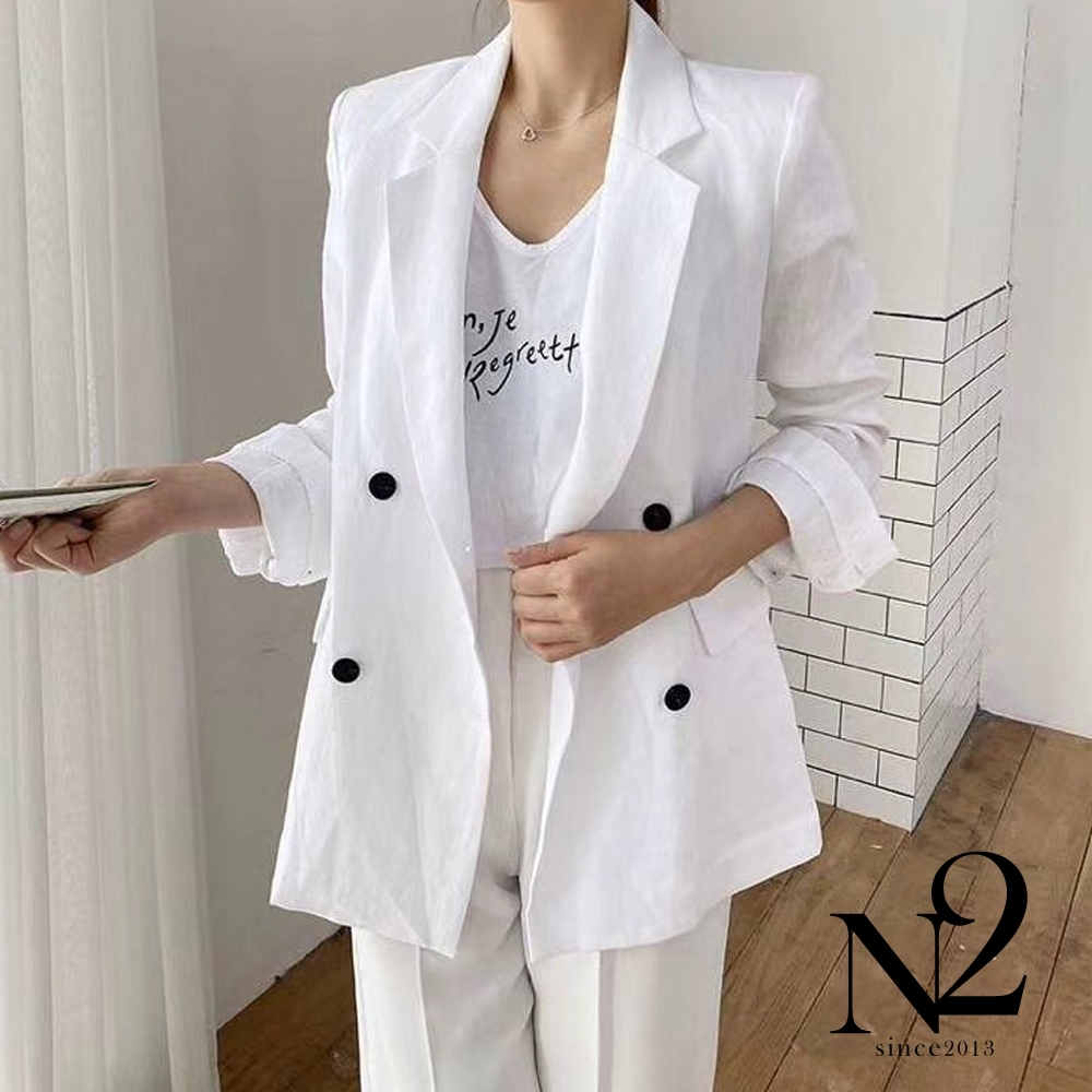 外套 正韓雙排扣麻質涼感腰身剪裁口袋西裝外套(白)N2