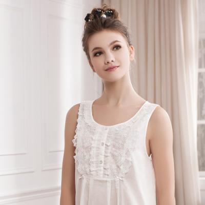 華歌爾睡衣-精梳棉蕾絲 M-L 背心裙(白)