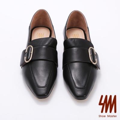 SM-尖頭C環酷炫鞋跟時尚樂福鞋