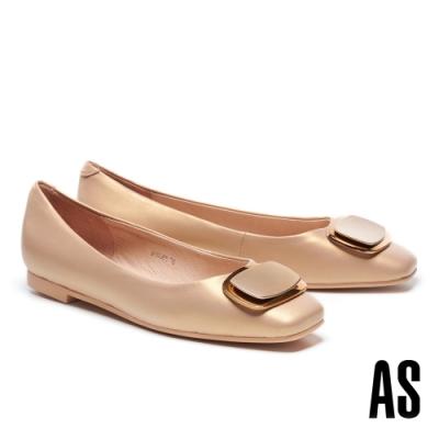 低跟鞋 AS 金屬風雙色橢圓方釦全真皮方頭低跟鞋-金