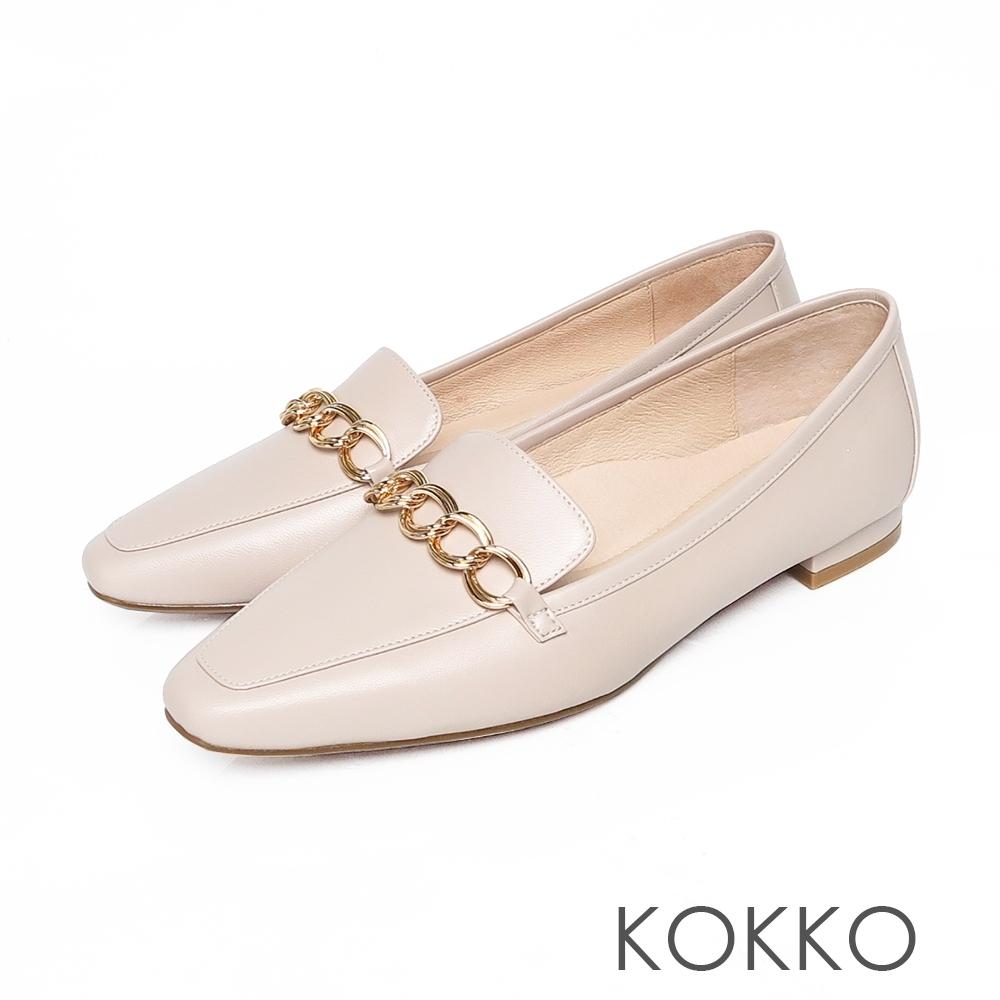KOKKO方頭鎖鏈扣環綿羊皮彎折舒壓平底鞋椰奶米