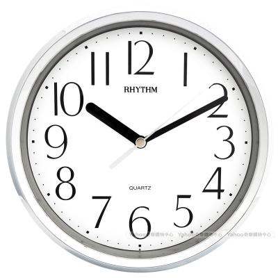 RHYTHM日本麗聲 金屬質感座掛兩用鐘(閃耀銀)/18cm