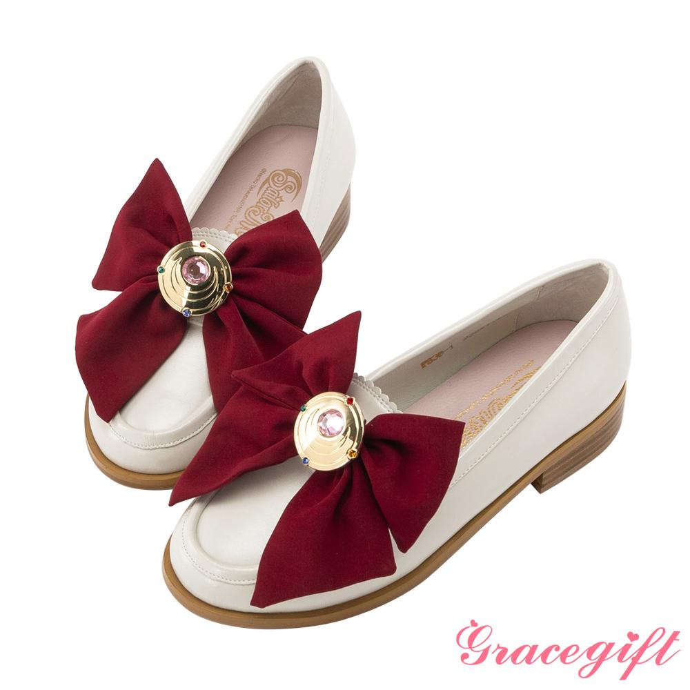 Grace gift-美少女戰士變身器緞帶樂福鞋 米白