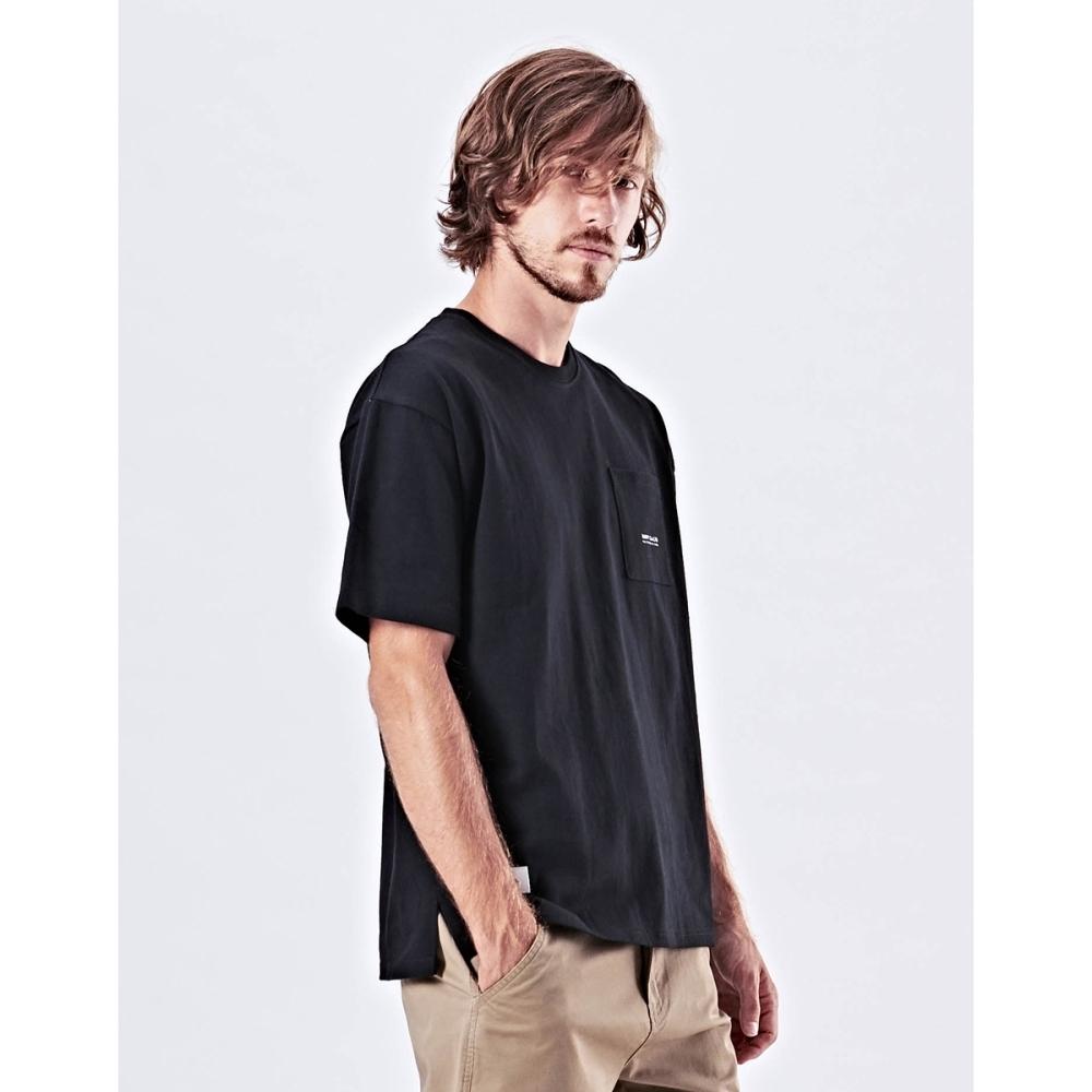 NAVY-落肩厚磅口袋短T(四色)-男【UNA008】