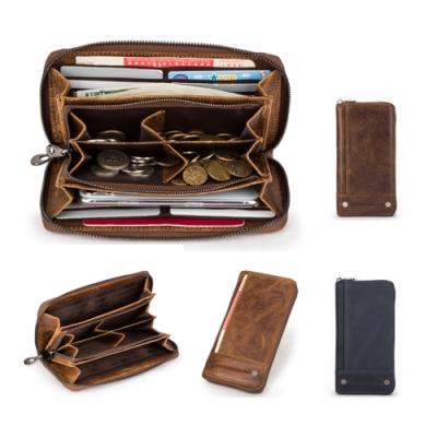 玩皮工坊-4COIN真皮頭層牛皮復古多隔層RFID男士皮夾皮包長夾男夾-LH780