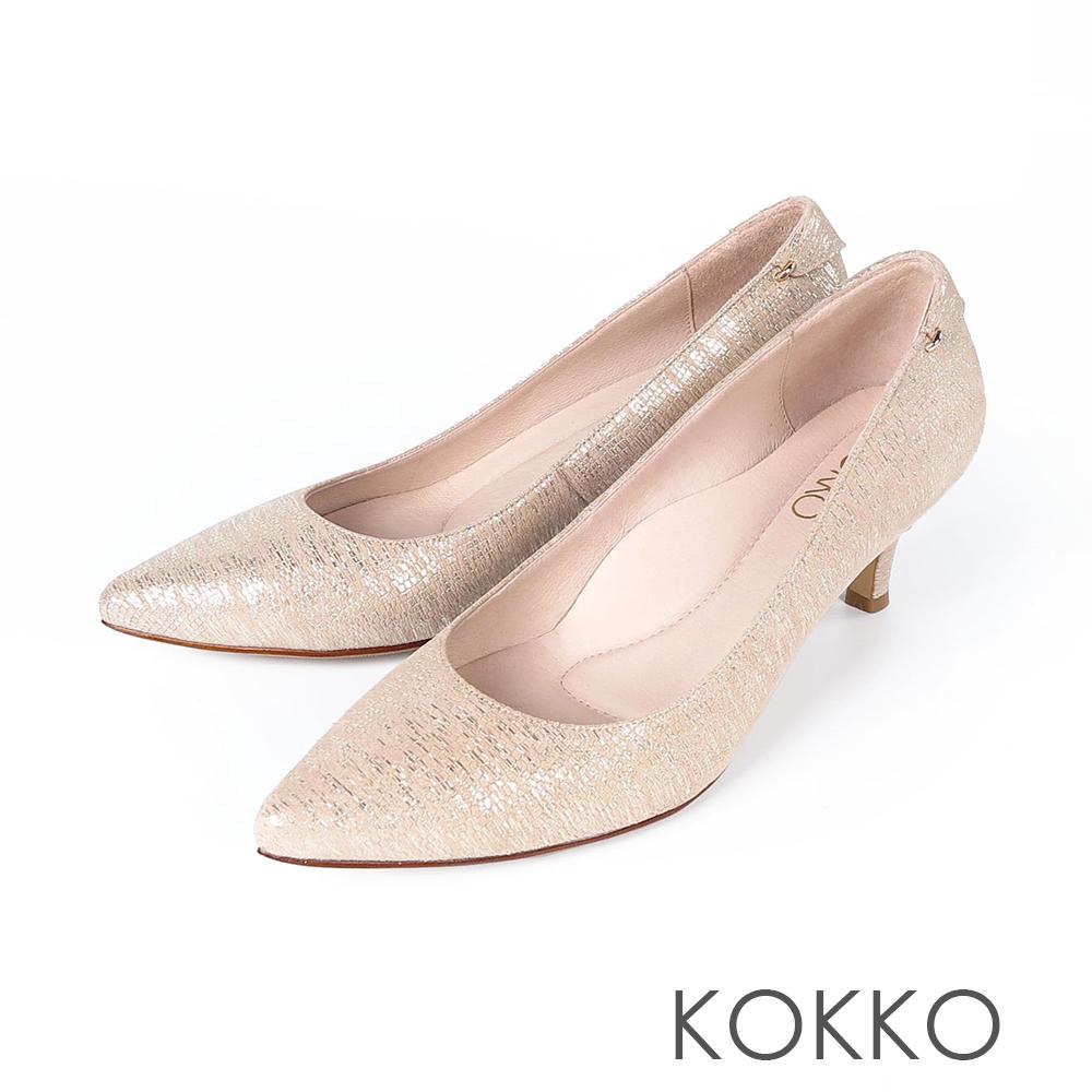 KOKKO - 華麗邂逅尖頭輕奢羊皮高跟鞋- 土豪金