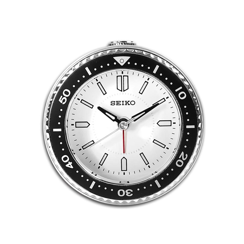 SEIKO 精工 / 潛水錶造型 貪睡鬧鈴 指針靜音鬧鐘 / 白色 / QHE184J