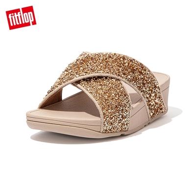 FitFlop LULU SHIMMERFOIL SLIDES 經典交叉涼鞋-女(金色)