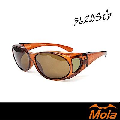 MOLA摩拉包覆式偏光太陽眼鏡 套鏡 墨鏡 UV400 小臉 超輕-3620Scb