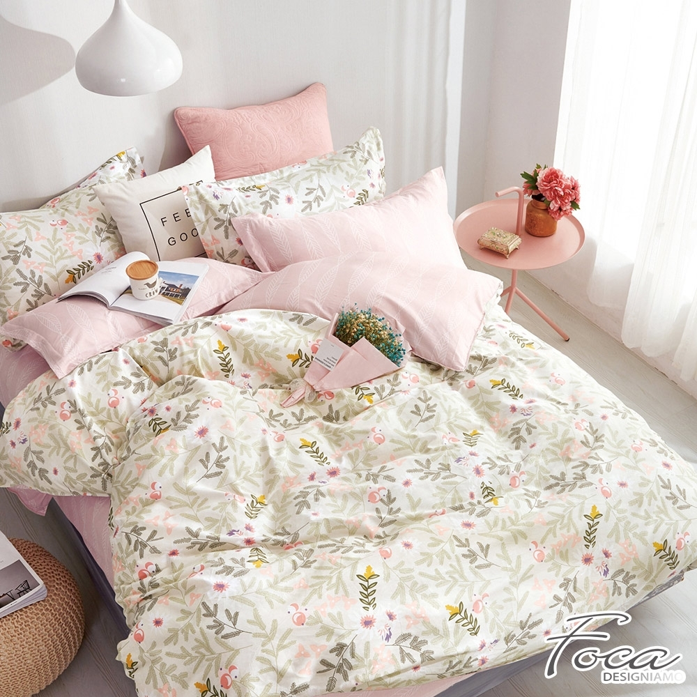 FOCA維多利亞的秘密-特大-韓風設計100%精梳純棉四件式兩用被床包組