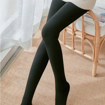 Lockers 木櫃 螺紋棉質條紋針織連腳打底襪/內搭褲-2色