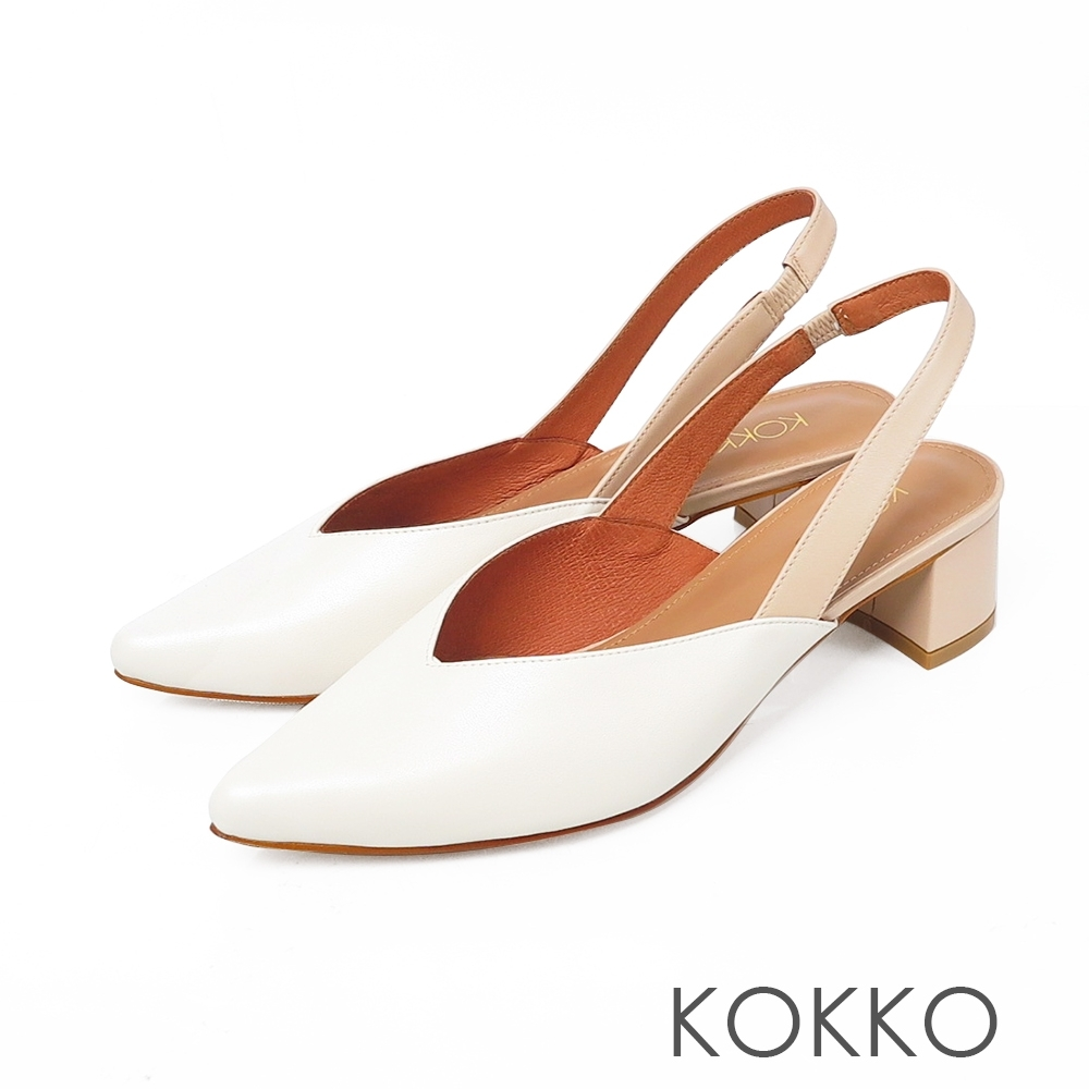 KOKKO 優雅尖頭後帶真皮粗跟鞋 椰奶白