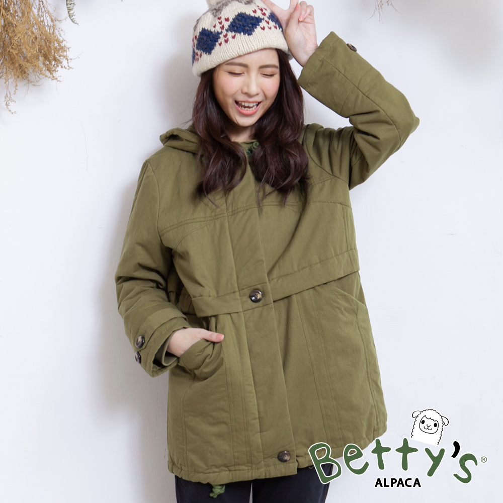 betty's貝蒂思 連帽抽繩禦寒鋪棉大衣(綠色)