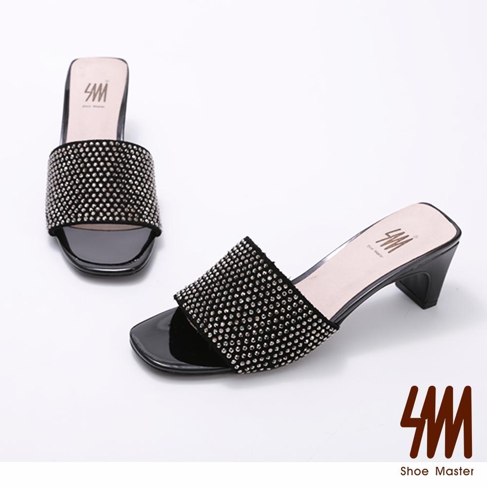 SM-華麗水鑽方頭高跟拖鞋