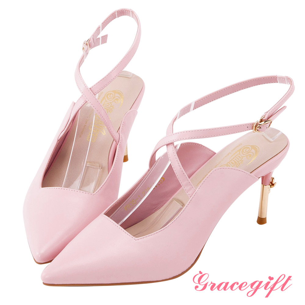 Grace gift-美少女戰士彎月神杖尖頭高跟鞋 粉