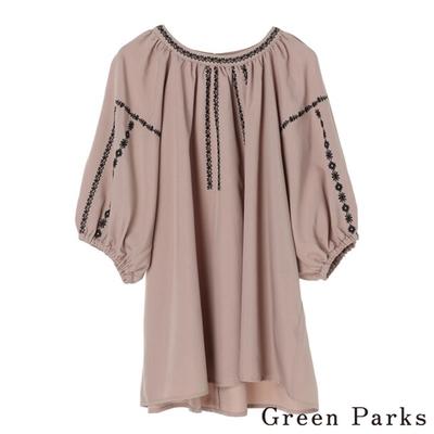 Green Parks 刺繡設計縮袖上衣