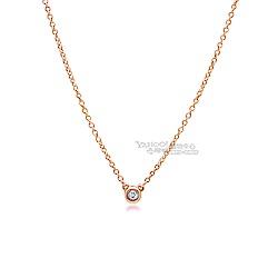(無卡分期12期) Tiffany&Co. 0.03克拉鑽石18K玫瑰金項鍊