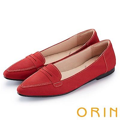ORIN 經典復古 嚴選優質牛皮尖頭樂福平底鞋-紅色