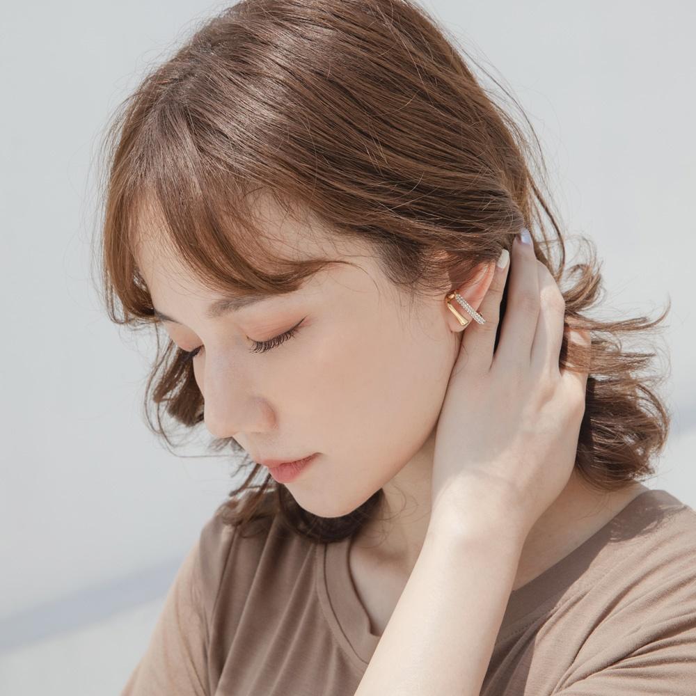 質感雙層線條亮鑽鋯石耳針式耳環-OB大尺碼