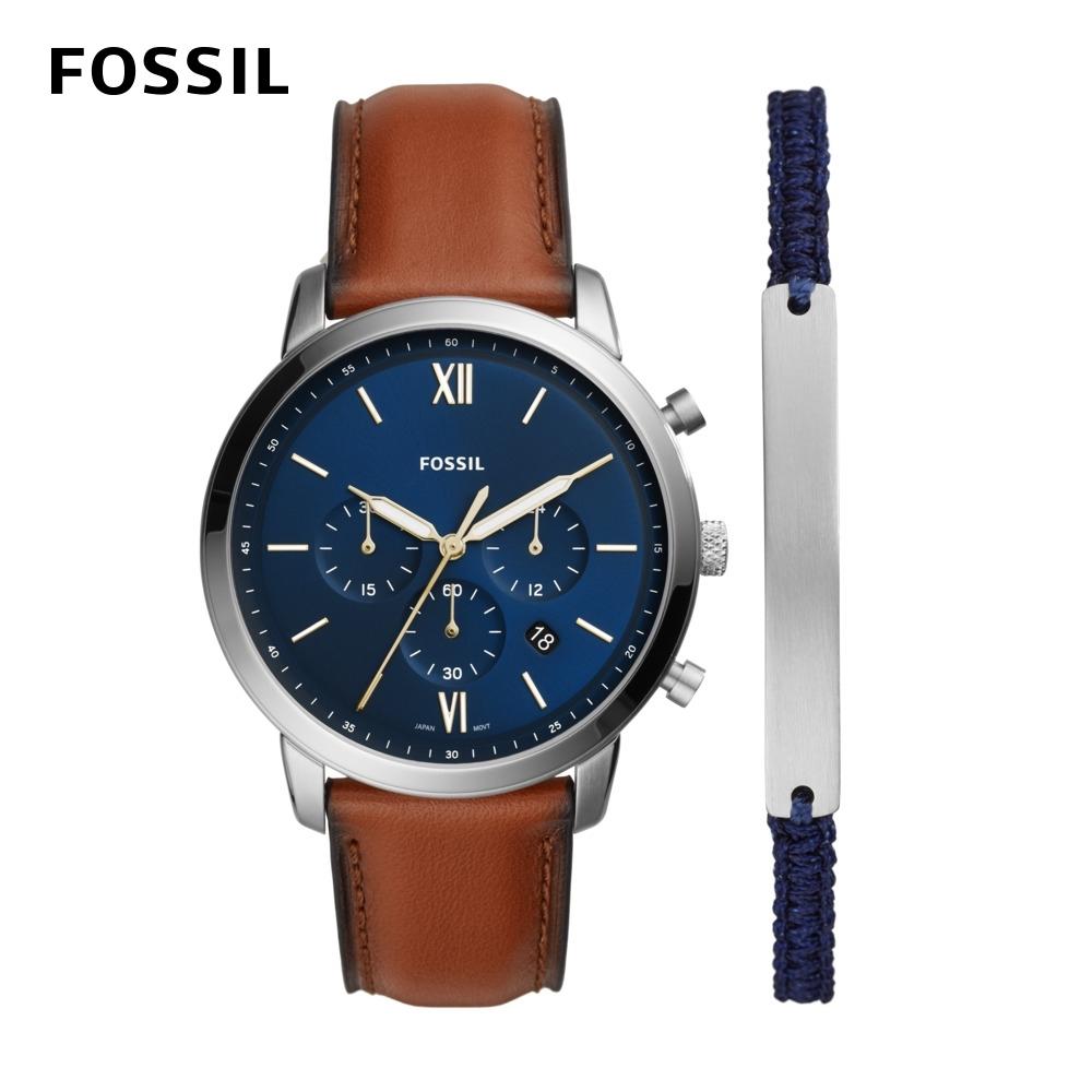 FOSSIL Neutra Chrono 三眼棕色皮革錶帶男錶+織帶手環禮盒 44MM FS5708SET