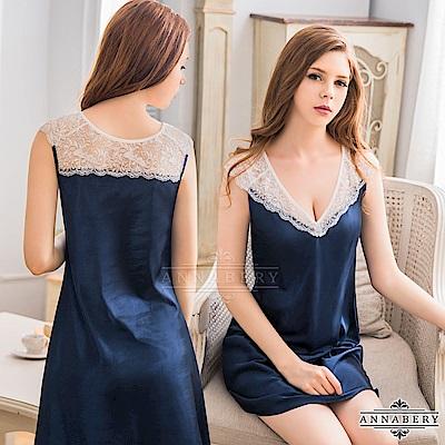 大尺碼 典雅V領蕾絲袖緞面性感睡衣 藍L-2L Annabery