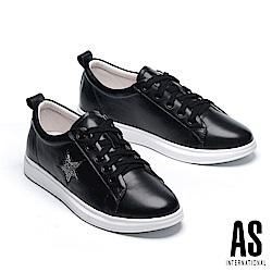 休閒鞋 AS 潮流閃鑽星星全真皮綁帶厚底休閒鞋-黑
