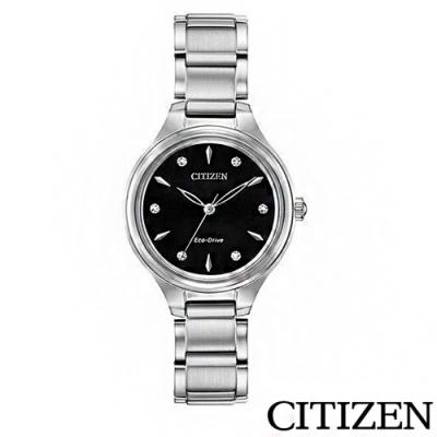 CITIZEN星辰 Eco-Drive石英機芯女性手錶-銀-FE2100-51E