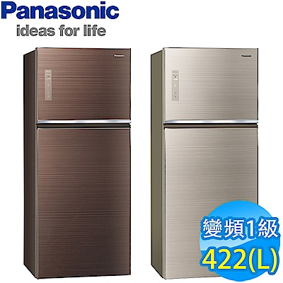 [無卡分期12期]Panasonic國際牌 422L 1級變頻2門電冰箱 NR-B429TG