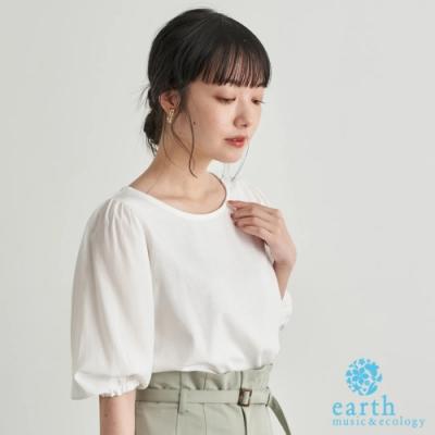 earth music 異素材拼接蓬袖圓領短袖上衣