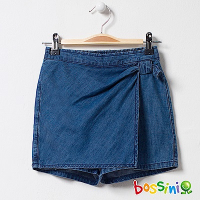 bossini女童-牛仔褲裙01靛藍