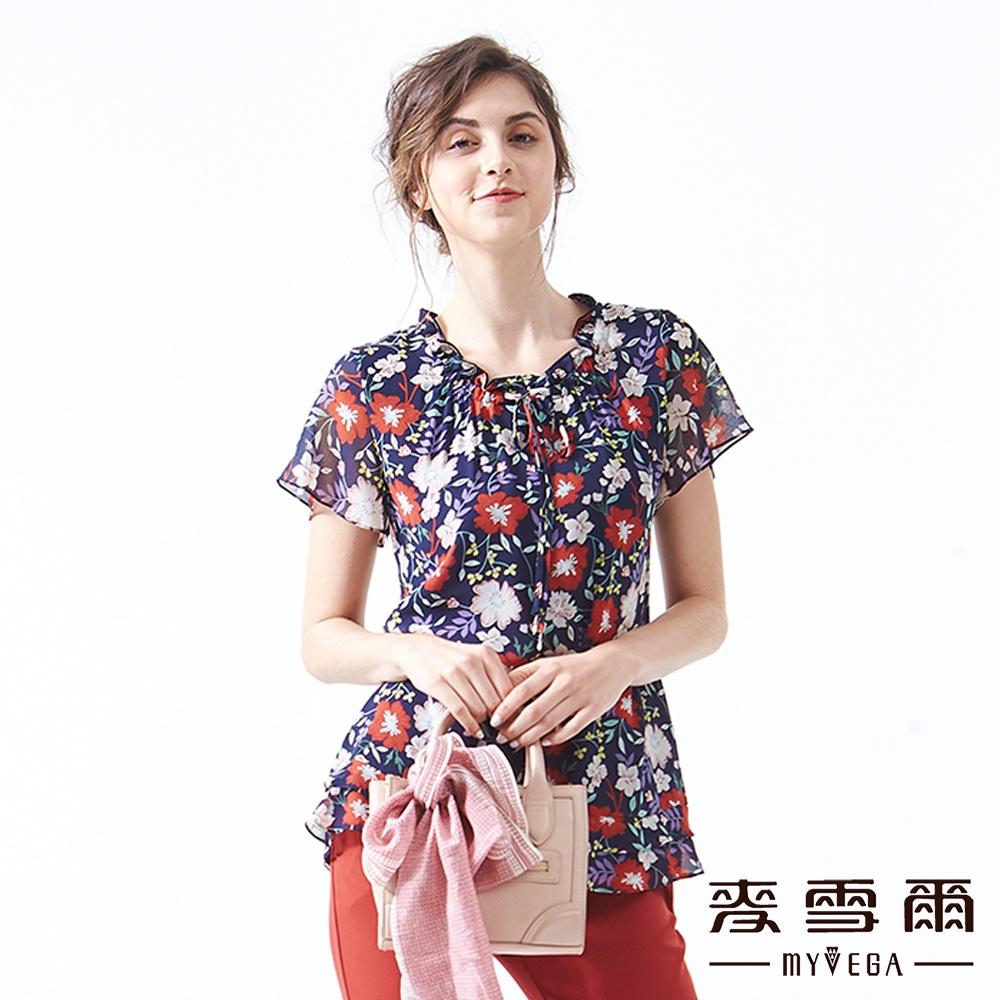 【麥雪爾】甜美花卉花邊領綁帶雪紡上衣