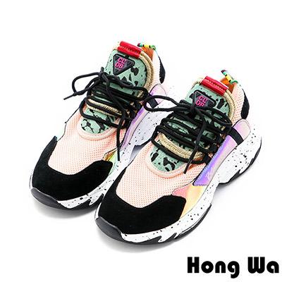 Hong Wa 復古牛麂皮拼接布面老爹鞋 - 黑粉