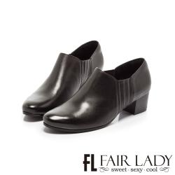 FAIR LADY 簡約復古側鬆緊拼接粗跟踝靴 黑