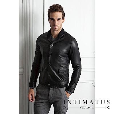 INTIMATUS 真皮 棒球外套款小羊皮皮衣 經典黑