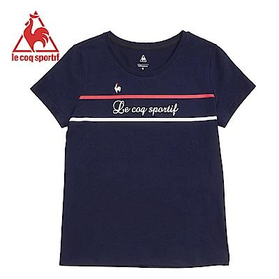 le coq sportif 法國公雞牌草寫字母條紋短袖T恤 女-丈青
