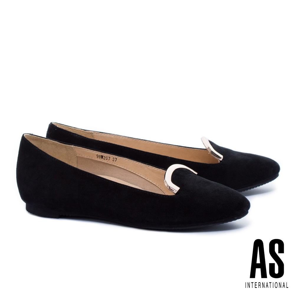 平底鞋 AS 知性典雅金屬飾羊麂皮樂福平底鞋-黑