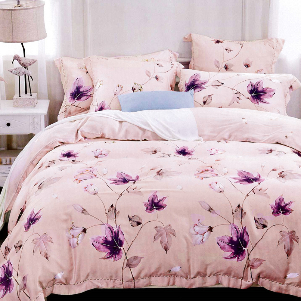 Lily Royal 百分百純天絲涼被床包四件組 加大 瑟琳娜粉