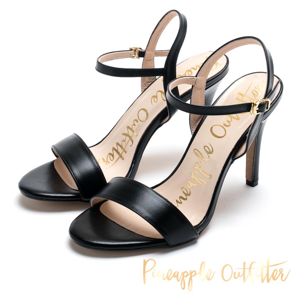 Pineapple Outfitter 氣質可人 牛皮一字細高跟涼鞋-黑色