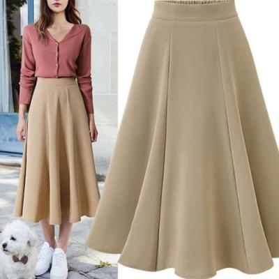 MOCO後鬆緊腰高腰厚料百搭素色波浪中長裙大擺裙