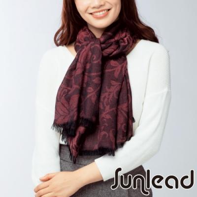 Sunlead 日系保暖輕柔長版緹花織紋圍巾/披肩